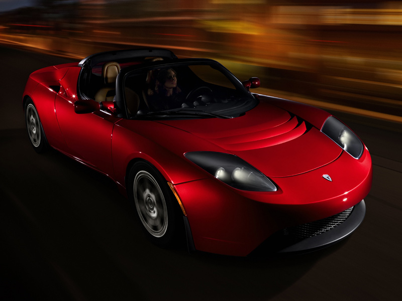 Tesla Roadster EV can do 250 miles on charge and 0-60 in under four seconds. Costs $109,000!