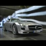 Mercedes-Benz SLS AMG in the wind tunnel.  An EV version is planned for 2015.